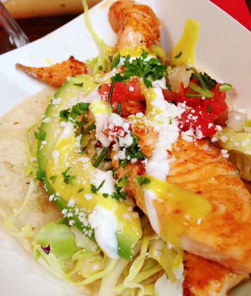 Eat Chow- salmon tacos | ShesCookin.com