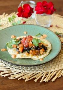 Sweet potato and black bean taco, vegetarian taco