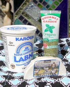 Karouk yogurt cheese, Gourmet Garden herbs, Myzithra cheese