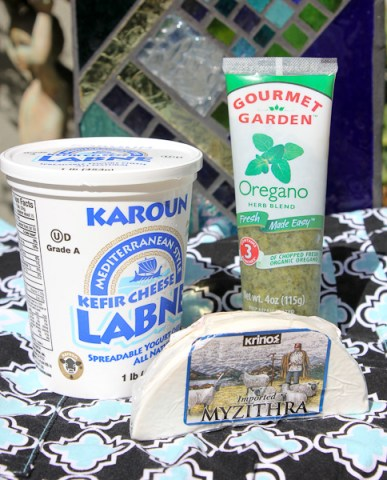 Karoun yogurt cheese, Gourmet Garden herbs, Myzithra cheese