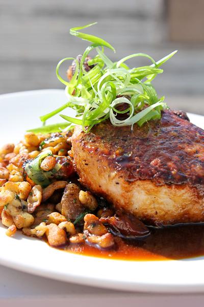 cider-brined pork chop, Zimzala, Shorebreak Hotel