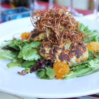 lump blue crab cakes, Champagne's Bistro and Deli, crab cakes
