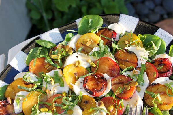 grilled plum salad, pluot salad