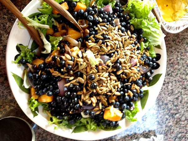 healthy Thanksgiving side dish recipes, butternut squash blueberry salad