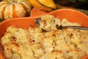 cauliflower casserole, cauliflower gratin, Thanksgiving sides