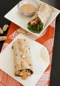 kale and peanut chicken wrap, kale wrap, peanut chicken