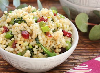 Pearl Couscous with Greens, Cranberries and Pine Nuts