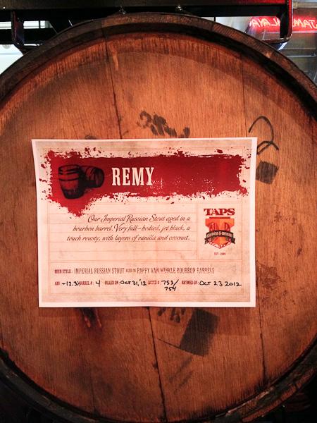 Pappy Van Winkle barrels, TAPS award winning beer, Remy Stout