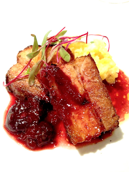 Fleming's Small Plates-Pork Belly, Polenta, Cherry Chutney