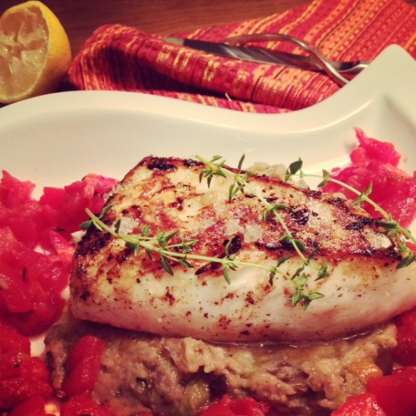 Halibut with Eggplant and Roasted Tomatoes