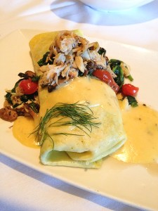 Crepe style omelet with blue crab