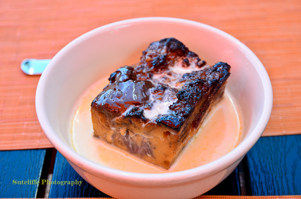 Grilled Banana Bread Pudding with Dulce de Leche and Bourbon Cream Sauce