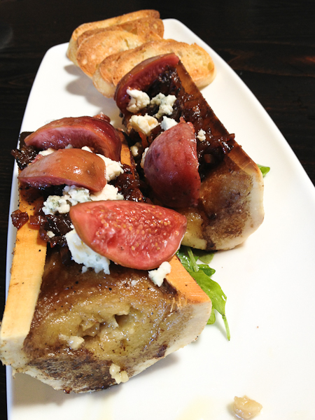 Bone marrow with pickled figs, smoked shallot marmalade, The Blind PIg
