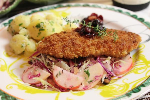 Crispy Weiner Schnitzel with Apple Cabbage Slaw