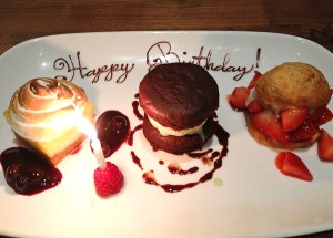 Birthday trio of desserts