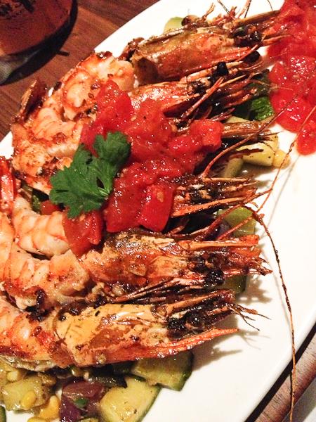Gulf Prawns a la Plancha, roasted corn, poblano chiles, roast tomato vinaigrette