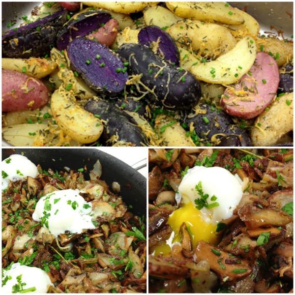 Woodsman potato hash, cider vinegar roasted fingerlings