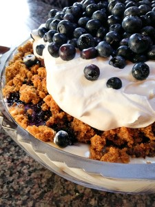 Pumpkin Bread Trifle with Blueberry Sauce
