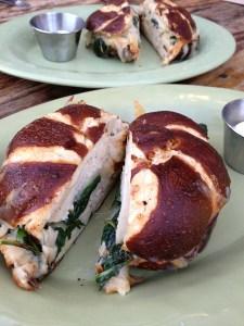 Turkey Melt on Pretzel Bread