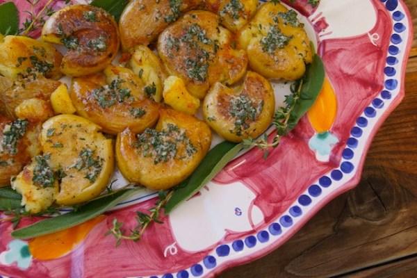 Garlic Herb Smashed Potatoes, Thanksgiving
