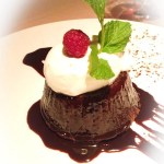Chocolate Molten Cake, chantilly cream, Valrhona chocolate