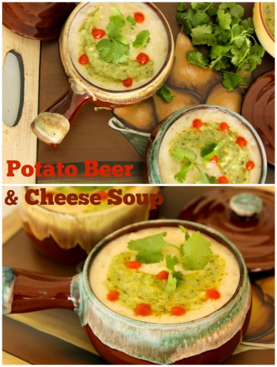 Potato Beer & Cheese Soup with Poblano Crema   ShesCookin.com