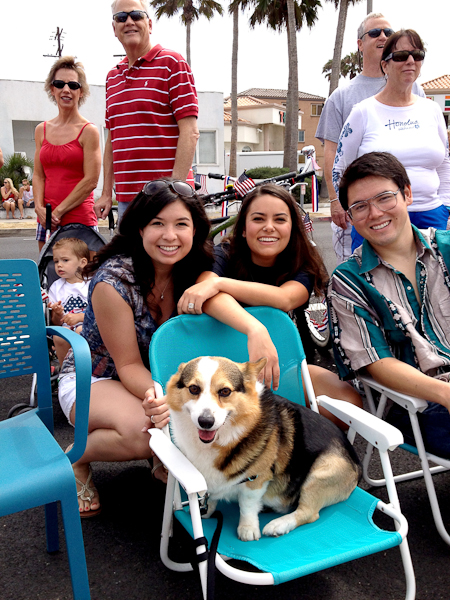 Kids at Corgi at the Huntington Beach 4th of July parade