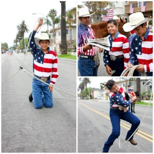 Huntington Beach 4th of July Parade, young Mexican vaqueros