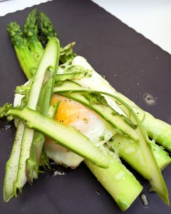 Asparagus Gratin with Fried Egg