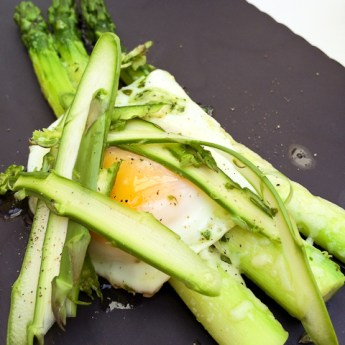 Asparagus Gratin with Fried Egg