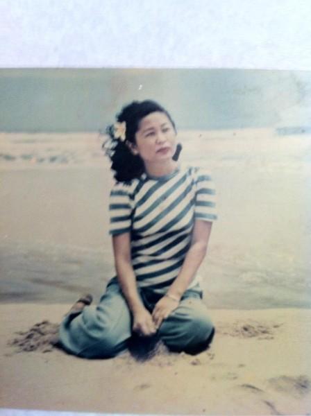 Mom on the beach in Kauai c 1950