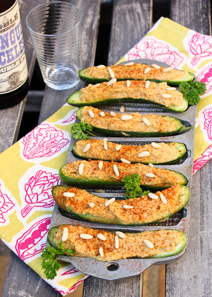 Cucumber Hatch Chile Hummus Boats
