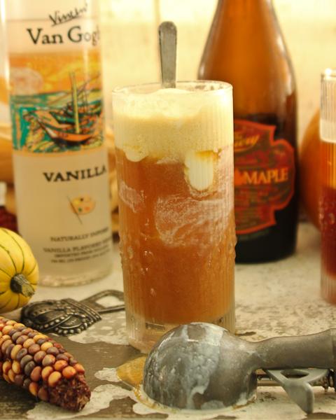 Vanilla Beer Float | ShesCookin.com *Seasonal craft beer + Vanilla vodka + ice cream! Perfect #Oktoberfest and #Halloween libation!