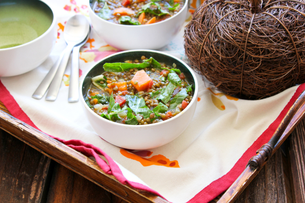 Sweet Potato, Lentil Soup with Swiss Chard