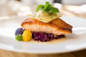 Salmon, Port Braised Cabbage, Cauliflower Ravioli