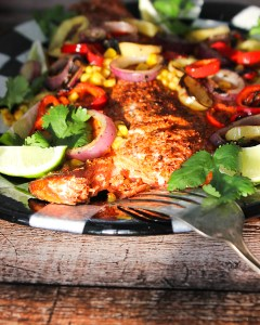 Grilled Wild Salmon w/ peppers. onion, avocado sauce