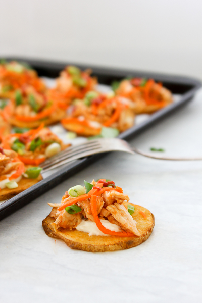 Skinny Sriracha Chicken Potato Skins - get the flavor of Buffalo Chicken without all the calories!