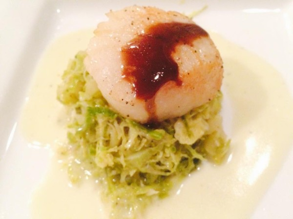 Day Boat  Scallops with Roasted Apple and Brussels Sprouts