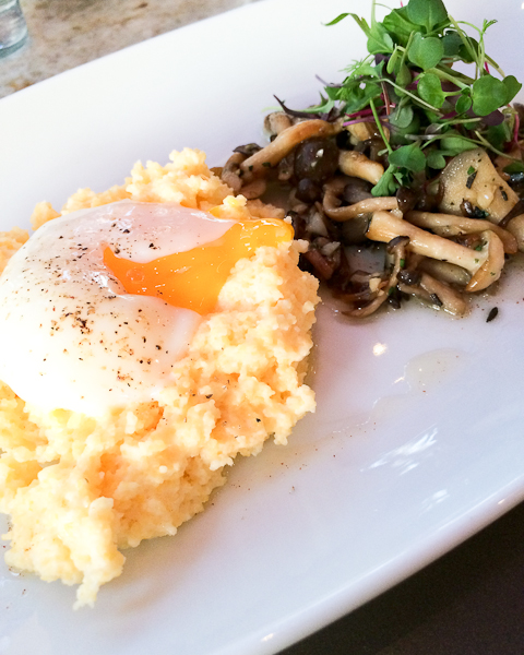 Foraged Mushrooms with Soft Egg and Polenta
