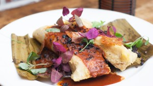 Duck Confit Tamales with chicharron