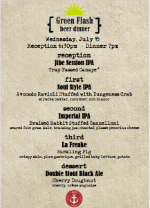 A & O Kitchen and Green Flash Brewery beer pairing dinner