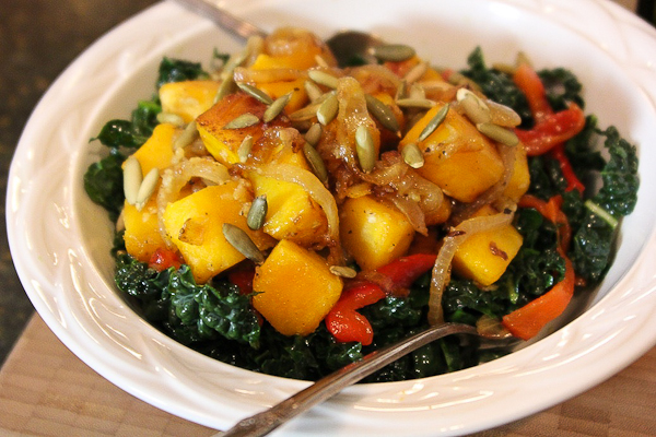 Kale and Squash Salad with Caramelized Onions | ShesCookin.com