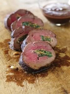 Stuffed Beef Tenderloin with Red Wine Sauce