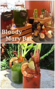 Bloody Mary Bar with Tomatillo and traditional Bloody Mary mix with all the fixins! EATS Kitchen + Bar | ShesCookin.com