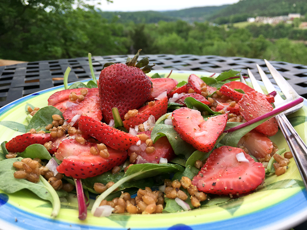 Strawberry Power Greens Salad with Wheatberries | ShesCookin.com
