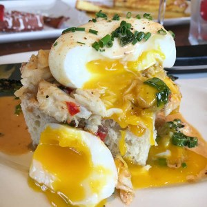 Crab Benedict, Toasted Focaccia and Cajun Lobster Sauce | ShesCookin.com