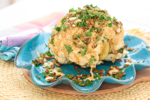 Roasted Cauliflower with Pumpkin Seeds and Curry Tahini Sauce-3361