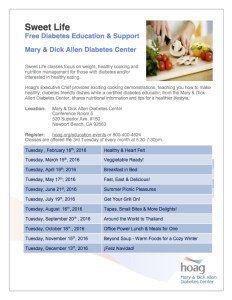 The Sweet Life - Free Diabetes Cookng Classes 2016