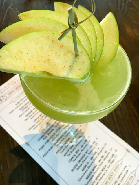 Apple Martini with whiskey, fresh Granny Smith apple juice, bruleed apple bitters   ShesCookin.com