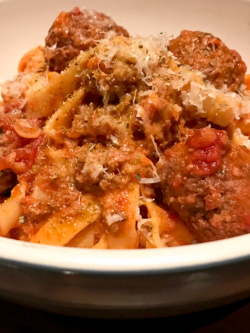 Bolognese with meatballs, North Italia